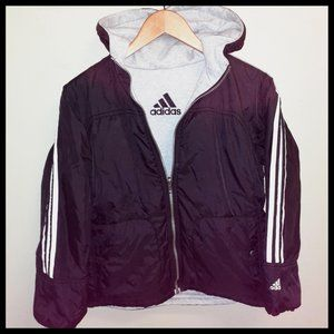 adidas Reversible Black/Gray Zip Hoodie
